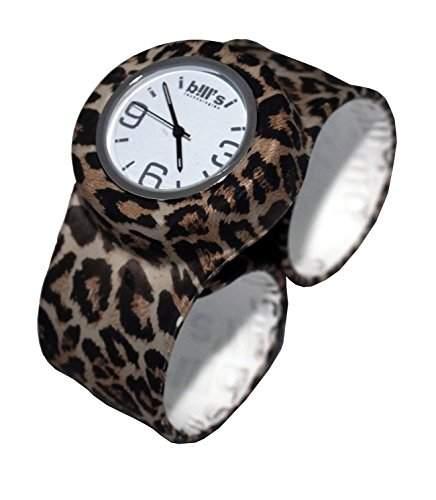 Bills Classic Watch Silikonuhr SlapBand Unisex Analog, leopard Band, weisser Uhreneinsatz