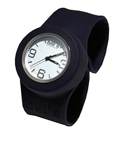 Bills Classic Watch Silikonuhr SlapBand Unisex Analog, schwarzes Band, weisser Uhreneinsatz