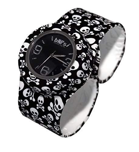 Bills Classic Watch, Silikonuhr SlapBand Unisex Analog, totenkopf Band, schwarzer Uhreneinsatz