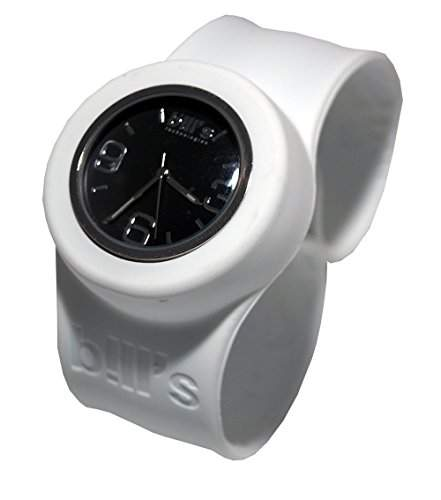 Bills Classic Watch Silikonuhr SlapBand Unisex Analog, weisses Band, schwarzer Uhreneinsatz