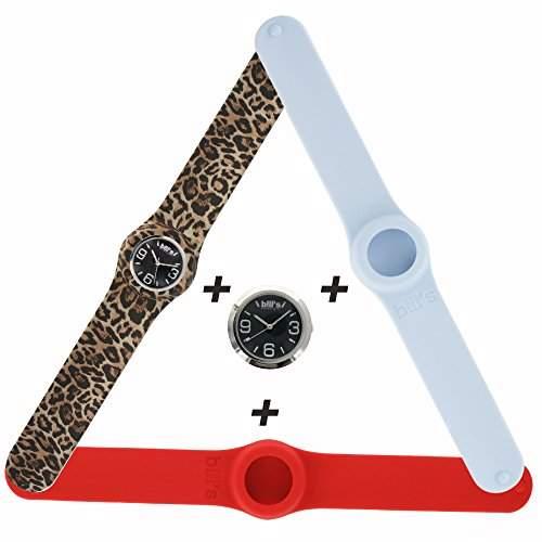 Bills Classic Watch 3PackSilikon Silikonuhr SlapBand Unisex Analog, rot, tigerlook, arcticwhite