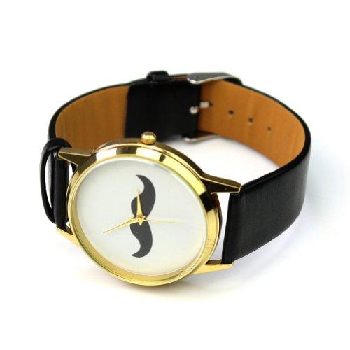 Fashion Schnurbart Schwarz PU Leder Armbanduhr 47 42mm Damenuhr Damenarmbanduhr