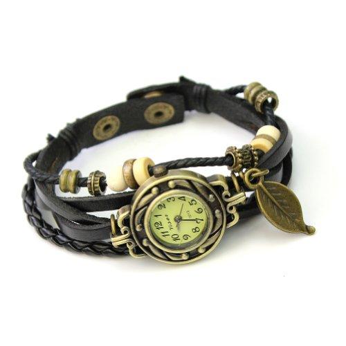 Leder Holzperlen Armbanduhr Damenuhr Armkette Armband Blaetter Schmuck Schwarz