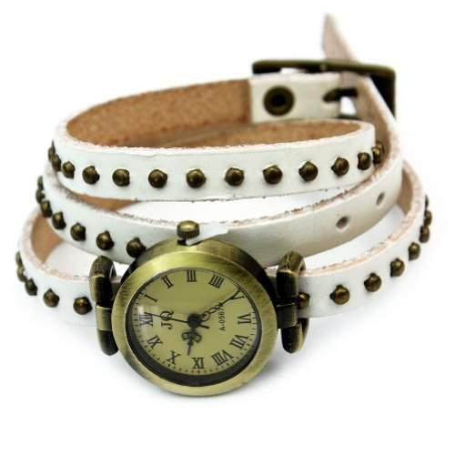Leder Armbanduhr Damenuhr Armkette Armband Lederarmband Schmuck Nieten Vintage