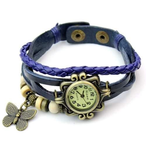 Leder Armbanduhr Damenuhr Armkette Armband Schmetterling Schmuck Blau 18-21cm