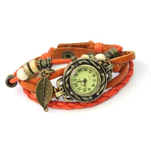 Leder Holzperlen Armbanduhr Damenuhr Armkette Armband Bronze Blaetter Schmuck Hellbraun