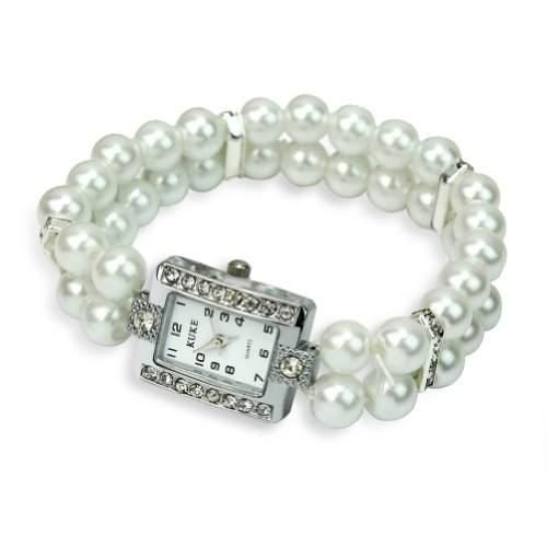 Strass 8mm Weiss Perlen Armbanduhr Zuchtperle Damenuhr Damenarmbanduhr Elastisch