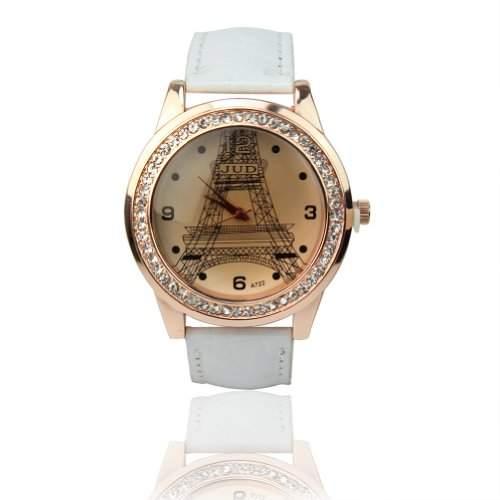 Strass Kristall Eiffelturm Armbanduhr Damenuhr Quarzuhr PU Leder Geschenk Weiss