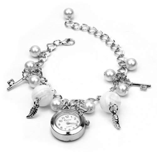 Damen Quarz Armkette Armbanduhr Armband Kunst Perlen Kette Uhr Geschenk Charms