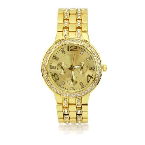 Unisex Armband Uhr Wickeluhr Armbanduhr Quarzuhr Golden Fa Strass Einstallbar