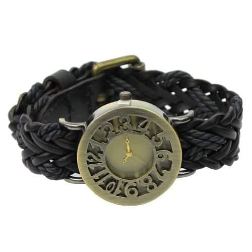 Schwarz Armbanduhr PU Lederarmband Uhr Damen Schmuck Quarzuhr Strick Geschenk