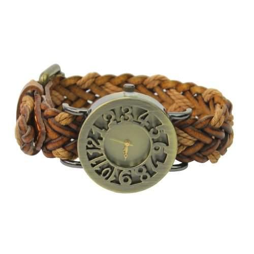 Orange Damen Wickeluhr Armbanduhr strick PU Leder Quarzuhr Edelstahl Vintage