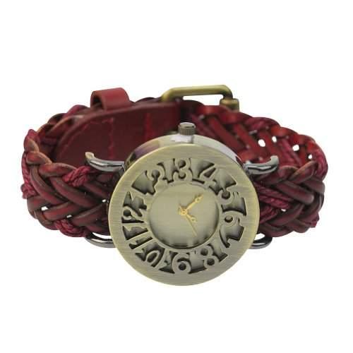 violett rot Damenuhr Wickeluhr Armbanduhr Quarz Uhr Schmuck Vintage PU Leder