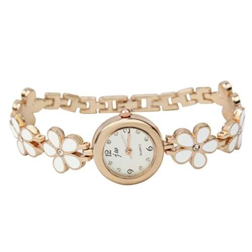 Metall Blume Band Armband Uhr Wickeluhr Damenuhr Armreif Schmuck Geschenk Neu