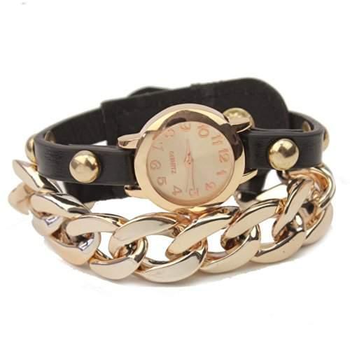 Metall Armkette Uhr Armband PU Leder Wickeluhr Damenuhr Schmuck Knopf Verschluss