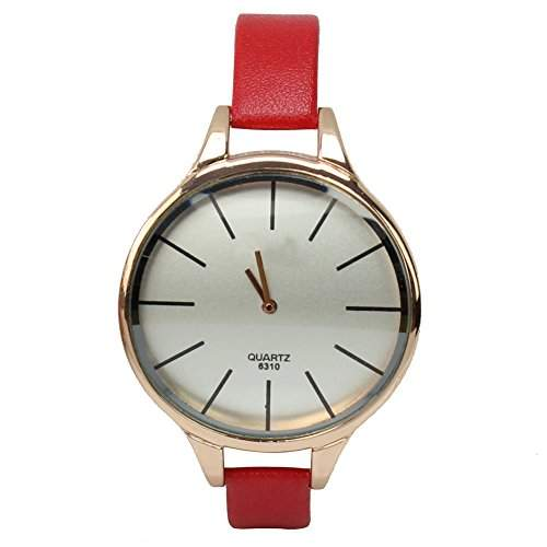 Damen PU-Leder-Armband-Quarz Analog Armbanduhr mit duenn rot Band Design HOT