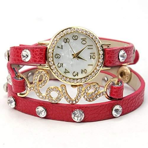 Modisch Frauen Rot PU-Leder-Armband-Uhr Damenuhr Armbandschmuck Uhrschmuck Hot