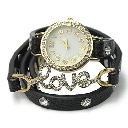 PU-Leder Armbanduhr LOVE-Logo Design mit Strass Kristall Neu Mode Deko Schoener