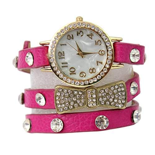 Damen Mode Bowknot Strass PU-Leder Armreif Armbanduhr Uhr mit Schleife Kristall