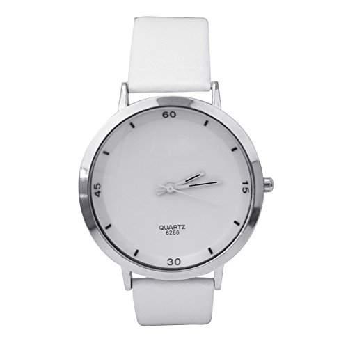 Damen Weiss Kunstlederband Armbanduhr Quarzuhr PU-Leder Elegant Stilvoll Neu