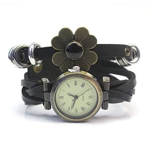 PU Leder Metall Blumen Armbanduhr Damenuhr Armkette Armband Blaetter Schmuck