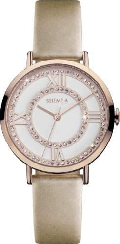 Shimla WomenQuarz-Uhr mit weissem Zifferblatt Analog-Anzeige und SH 716W Beige