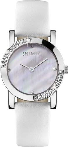 Shimla Women- Armbanduhr Pearl Dial Analog-Anzeige und weisse Lederband SH 723W
