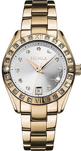 Shimla Womens Armbanduhr Analog Quarz Edelstahl Rose Gold 718W Armband Rotgold