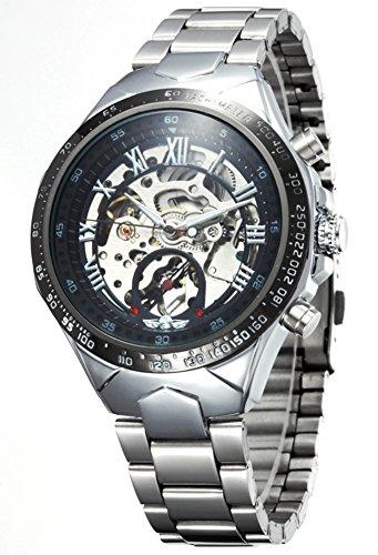 Ama ZODE Maenner schwarze Skeleton automatische mechanische Silber Edelstahl Band Uhr