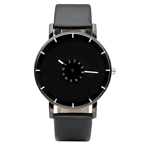 JSDDE Uhren Modische Ziffer Radscheibe Armbanduhr Schwarz PU Lederband Analog Quarz Uhr Unisex Armbanduhr