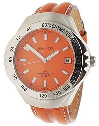 Shaon Herren-Armbanduhr Analog Quarz Leder 35-6010-66