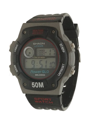 SHAON Sports Watch Digital Display Black Rubber Band with Grey Dial Dual Time Melody alarm
