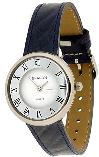 SHAON Womens Watch Turquoise Leather Band White Dial