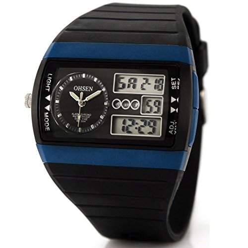 Pixnor AD1305 multi-funktionale wasserdichte Unisex Herren Damen Dualzeit Anzeige LED Digital Quarz Sport Uhr mit Stoppuhr Date AlarmEl-Hintergrundbeleuchtung Rubber Band schwarz + blau