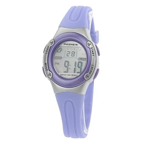 Pixnor PASNEW PSE-226 wasserdichte Kinder jungen Maedchen LED Digital Sport Uhr mit Datum Alarm Stoppuhr Licht Lila
