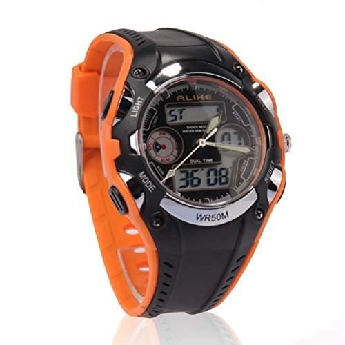 PIXNOR Gleichermassen AK9132 wasserdichte Studenten Kinder Dualzeit Sport LED Quarz-Armbanduhr mit Datum Alarm Stoppuhr Orange + Schwarz