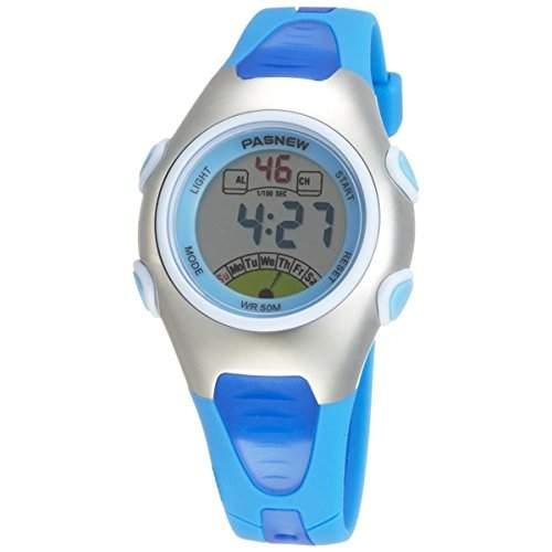 Pixnor PASNEW PSE-219 wasserdichte Kinder jungen Maedchen LED Digital Sport Uhr mit Datum Alarm Stoppuhr blau