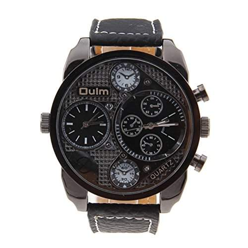 Pixnor Oulm 9316 Cool Mens Big Round Dial Dual Time Display Quartz Wrist Watch with PU Band Black