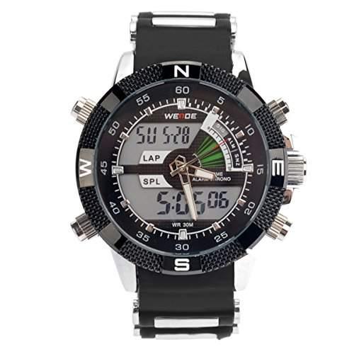 PIXNOR Wasserdichte WEIDE-WH-1104-Maenner zwei-Zeitzonen-Sport-LED Digital Quarz-Armbanduhr mit Datum Stoppuhr Alarm Kautschukarmband schwarz