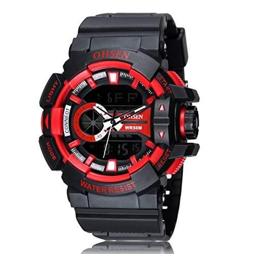 PIXNOR OHSEN AD1505 wasserdichte Maenner Boys Dualzeit Anzeige LED Digital Quarz Sport Uhr rot