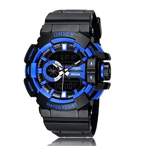 PIXNOR OHSEN AD1505 wasserdichte Maenner Boys Dualzeit Anzeige LED Digital Quarz Sport WatchBlue