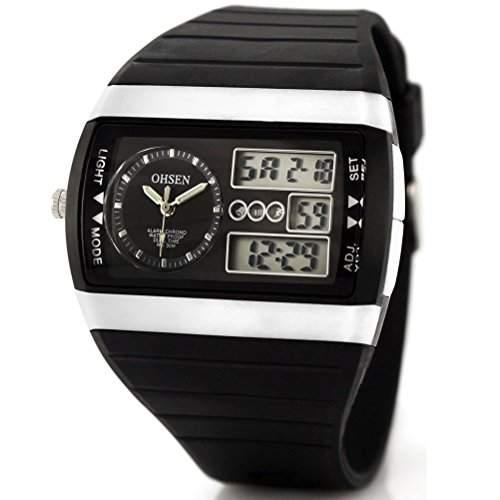 OHSEN AD1305 multifunktionale wasserdichte Unisex Herren Damen LED Digital Sport Uhr schwarz + weiss