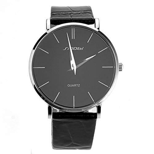 Pixnor Mode-ultra-duennen runden Zifferblatt Herren jungen Quarz-Armbanduhr mit PU-Band schwarz
