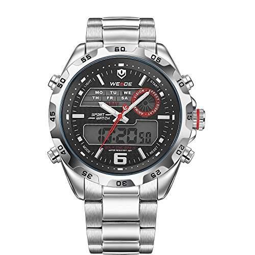 PIXNOR WEIDE WH-3403 wasserdichte Herren LED Digital Analog Dualzeit Anzeige Edelstahl-Band Sport Armbanduhr weiss + schwarz