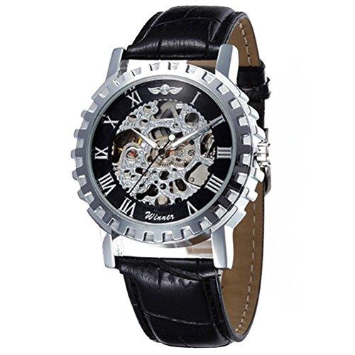 PIXNOR Maenner automatische mechanische Armbanduhr mit PU Band Siver schwarz