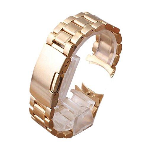 PIXNOR 24mm Weit Edelstahl Uhrenarmband Armband Stainless Steel Watch Strap Metall Uhr Band mit Werkzeug Rosegold