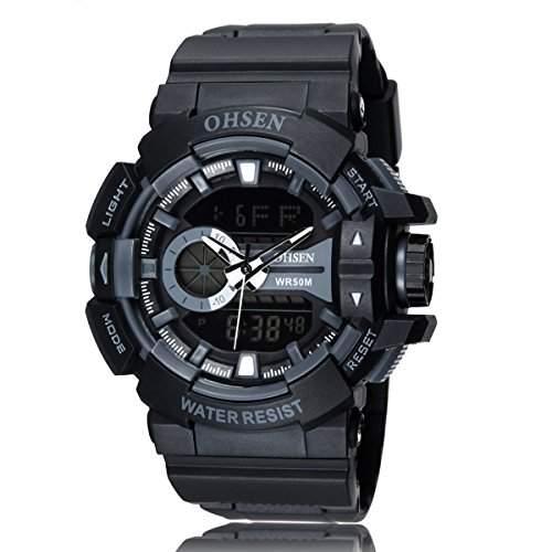 PIXNOR OHSEN AD1505 wasserdichte Maenner Boys Dualzeit Anzeige LED Digital Quarz Sport Uhr schwarz