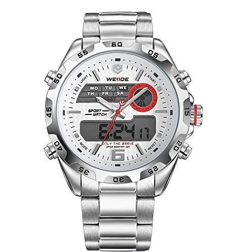 PIXNOR WEIDE WH-3403 wasserdichte Herren LED Digital Analog Dualzeit Anzeige Edelstahl-Band Sport Handgelenk Watchweiss