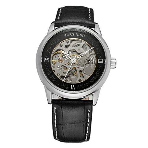 PIXNOR Herren klassische automatische mechanische Armbanduhr mit PU Band silber schwarz