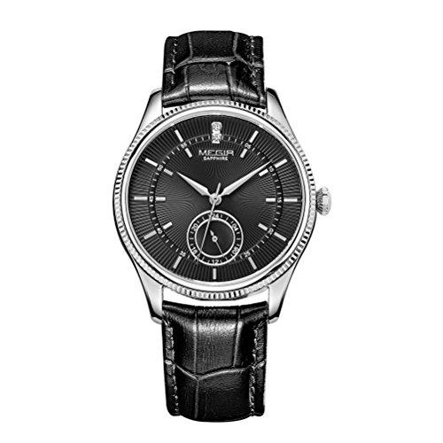 MEGIR Maenner Leuchtende Chronograph Uhr Quarz Sport Armbanduhr Mit Schwarzem Armband